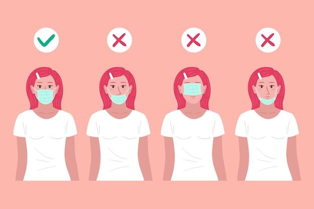 Wie man eine gesichtsmaske trägt, richtige und falsche illustrationen mit frau