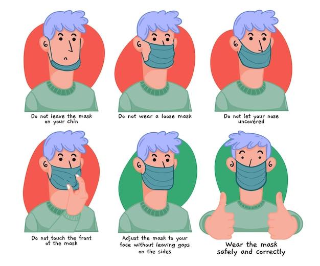 Wie man eine gesichtsmaskenillustration trägt