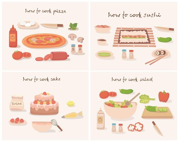 Wie man eine leckere traditionelle gemüsepizza, kuchen, sushi und salat mit küchenutensilien, zutaten kocht. illustration im flachen stil