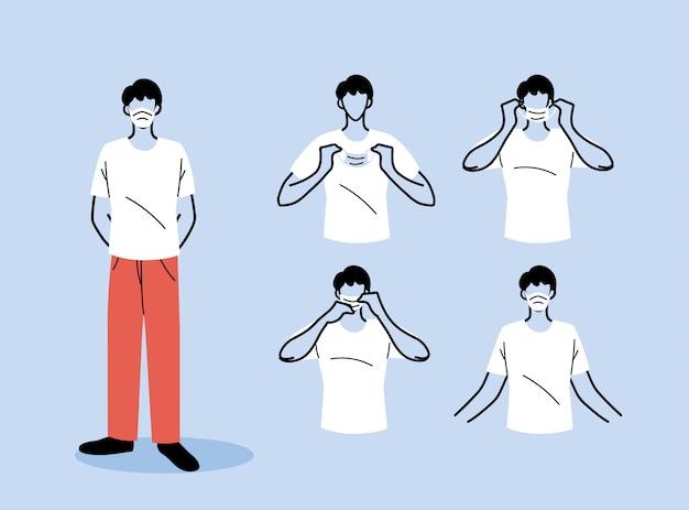 Wie man eine maske richtig trägt, männer, die die richtige methode zum tragen einer medizinischen maske präsentieren