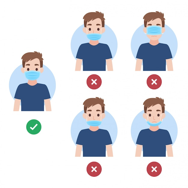 Wie man eine richtige und falsche gesichtsmaske trägt, menschen, die eine chirurgische maske tragen, um das koronavirus zu verhindern