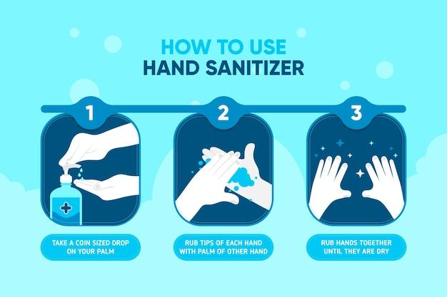 Wie man händedesinfektionsmittel infografik verwendet illustriert