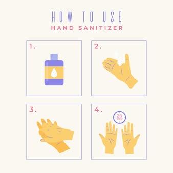 Wie man händedesinfektionsmittel infografik verwendet