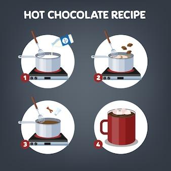 Wie man heiße schokolade oder kakao führer macht.