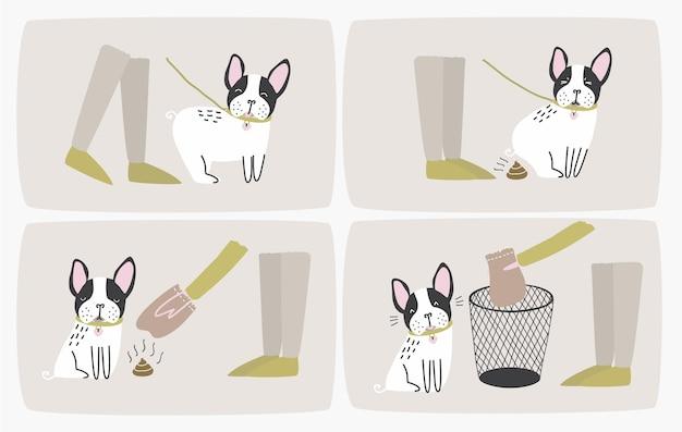 Wie man hundekot mit einer plastiktüte aufnimmt und schritt für schritt in den mülleimer wirft