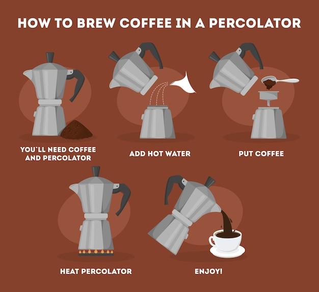 Wie man kaffee im perkolator trinkt