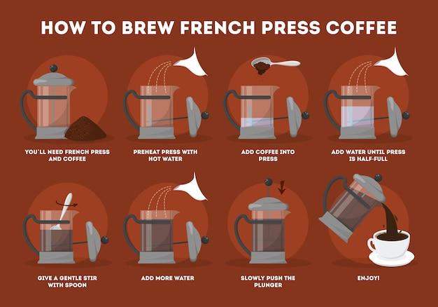 Wie man kaffee in der französischen presse brüht.