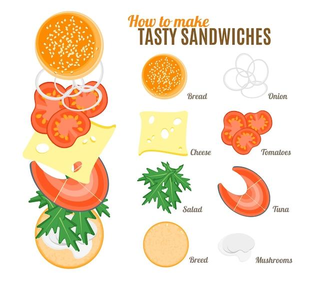 Wie man leckere sandwiches mit fischplakat macht