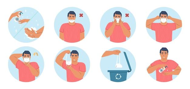 Wie man medizinische gesichtsmaskenspitzen trägt und entfernt, vektorinfografik. ppe, coronavirus-pandemie-quarantäne-gesundheitsmaßnahmen.