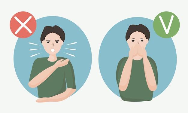 Wie man richtig niest oder hustet, um die verbreitung von viren zu verhindern