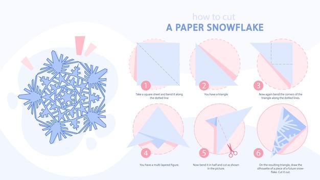 Wie man weihnachtsblaue schneeflocke diy macht Premium Vektoren