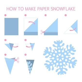 Wie man weihnachtsblaue schneeflocke von unterschiedlicher form diy macht. schritt-für-schritt-anleitung für papier-origami-spielzeug. tutorial für kinder. isolierte flache illustration des vektors Premium Vektoren