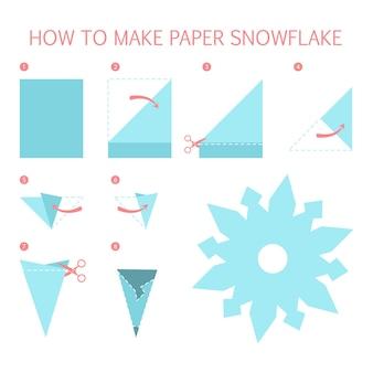 Wie man weiße schneeflocken unterschiedlicher form diy macht. schritt-für-schritt-anleitung für papier-origami-spielzeug. tutorial für kinder. isolierte flache illustration des vektors