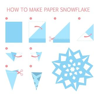 Wie man weiße weihnachtsschneeflocke der verschiedenen form diy macht. schritt-für-schritt-anleitung für papier-origami-spielzeug. tutorial für kinder. illustration