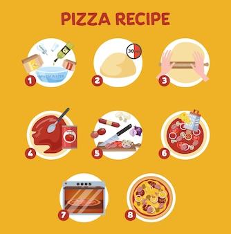 Wie man zu hause pizza macht. einfaches rezept für hausgemachtes italienisches essen. salami und sauce, tomate und käse. zubereitung von warmen speisen.