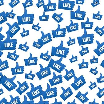 Wie symbolmusterhintergrund. daumen hoch wie icon-design für soziale netzwerke.