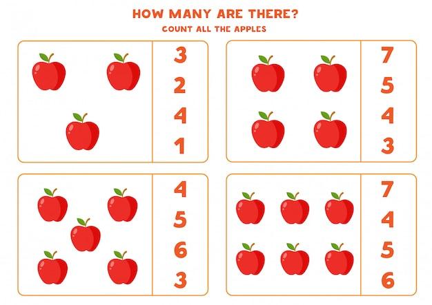 Wie viele äpfel sind dort. pädagogisches zählspiel für kinder. mathe-arbeitsblatt für kinder im vorschulalter.