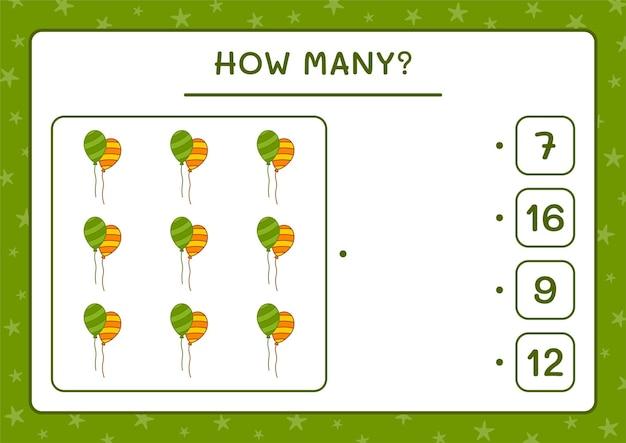 Wie viele ballons, spiel für kinder. vektorillustration, druckbares arbeitsblatt