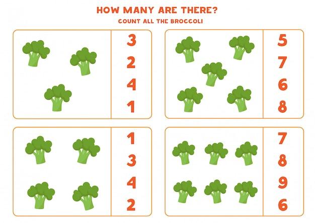 Wie viele brokkolis gibt es? pädagogisches zählspiel für kinder. mathe-arbeitsblatt für kinder im vorschulalter.
