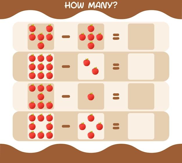 Wie viele cartoon-äpfel. spiel zählen. lernspiel