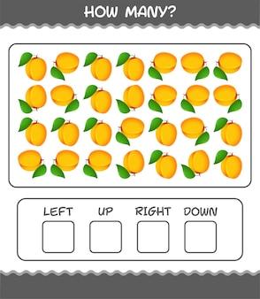 Wie viele cartoon-aprikose. zählspiel. lernspiel für vorschulkinder und kleinkinder