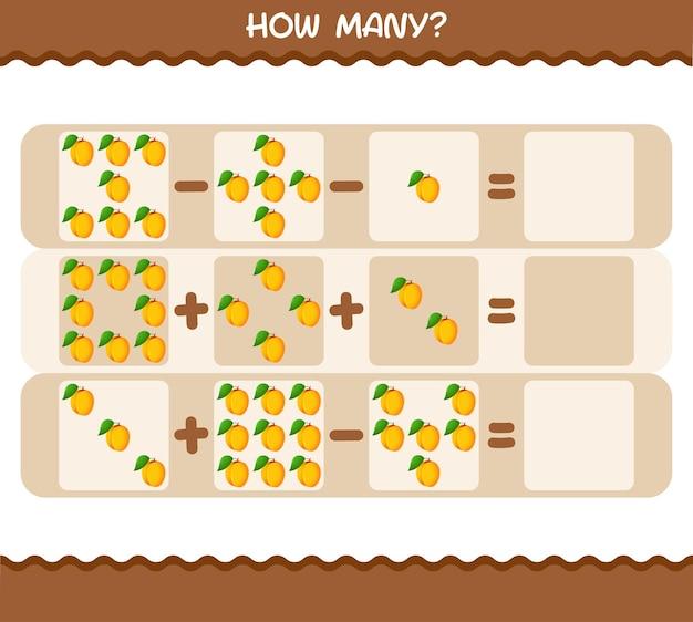 Wie viele cartoon-aprikosen. spiel zählen. lernspiel