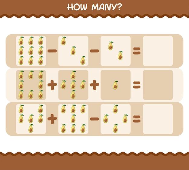Wie viele cartoon-avocado. spiel zählen. lernspiel
