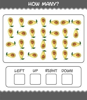 Wie viele cartoon-avocado. zählspiel. lernspiel für vorschulkinder und kleinkinder