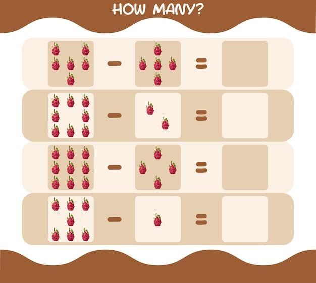 Wie viele cartoon drachenfrucht. spiel zählen. lernspiel