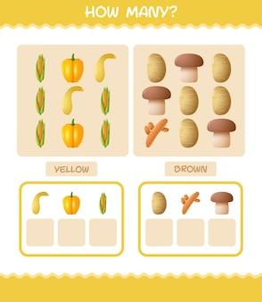 Wie viele cartoon-gemüse. zählspiel. lernspiel für vorschulkinder und kleinkinder
