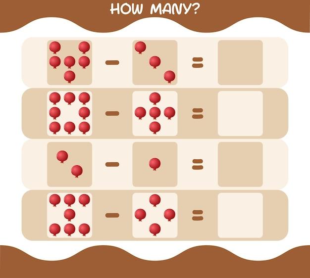 Wie viele cartoon granatapfel. spiel zählen. lernspiel