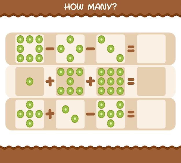 Wie viele cartoon-kiwi. spiel zählen. lernspiel