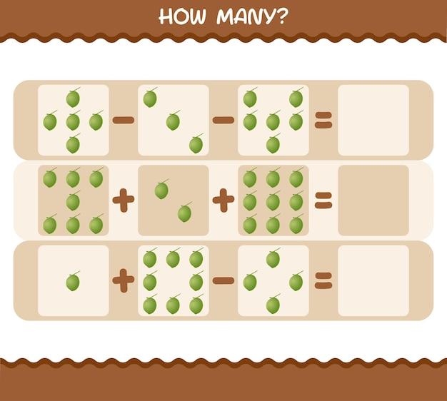 Wie viele cartoon-kokosnüsse. spiel zählen. lernspiel