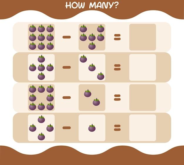 Wie viele cartoon mangostan. spiel zählen. lernspiel