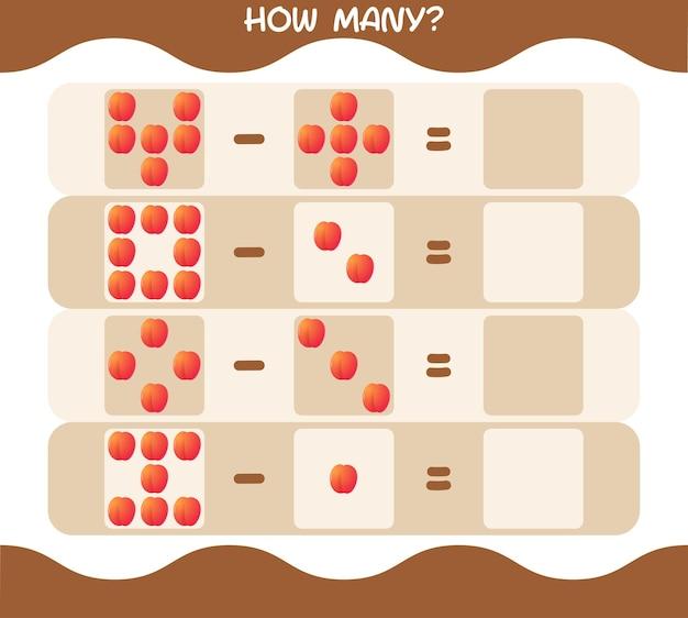 Wie viele cartoon-nektarinen. spiel zählen. lernspiel