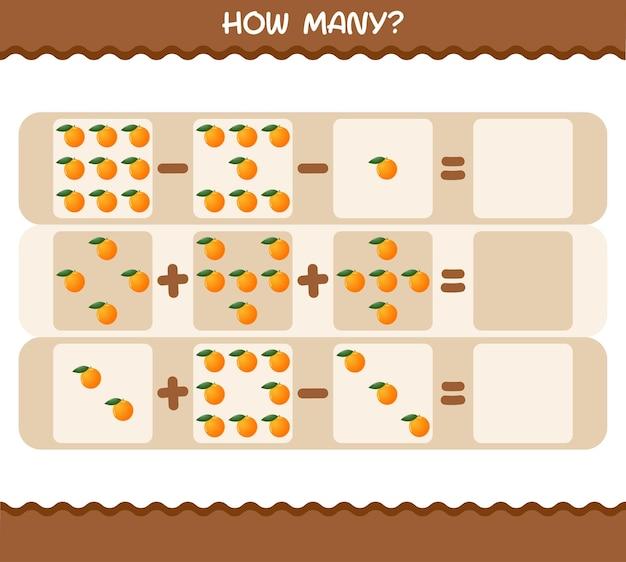 Wie viele cartoon orange. spiel zählen. lernspiel