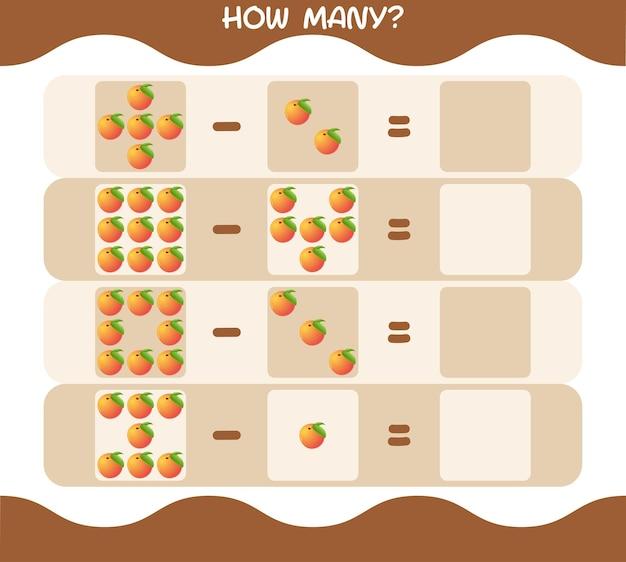 Wie viele cartoon pfirsich. spiel zählen. lernspiel