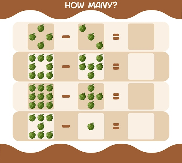 Wie viele cartoon pudding apfel. spiel zählen. lernspiel