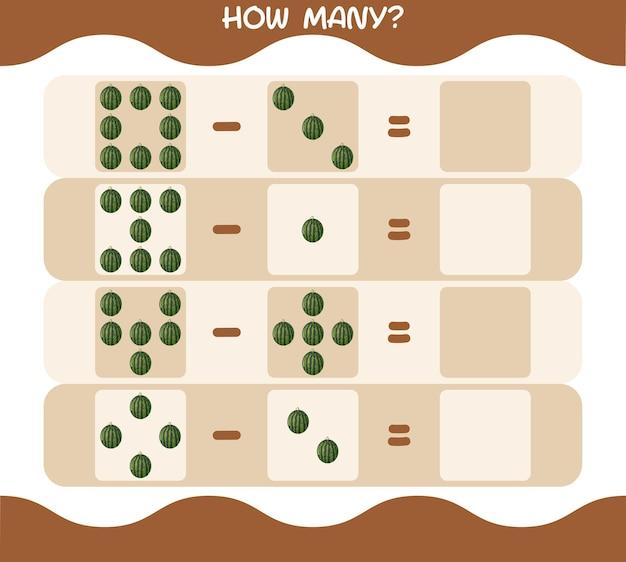Wie viele cartoon wassermelone. spiel zählen. lernspiel