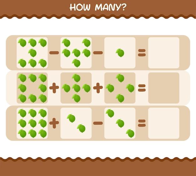 Wie viele comic-limetten. spiel zählen. lernspiel