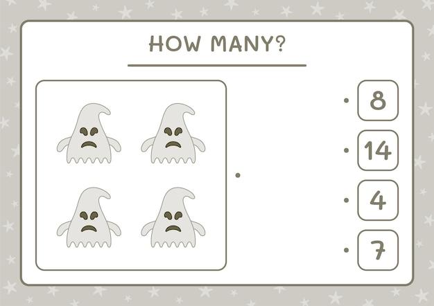 Wie viele ghost, spiel für kinder. vektorillustration, druckbares arbeitsblatt