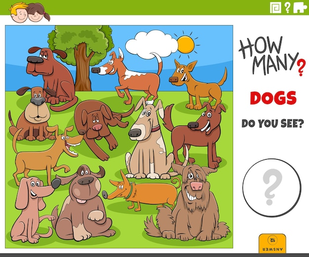 Wie viele hunde pädagogisches cartoon-spiel für kinder