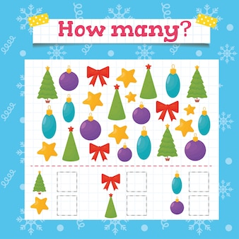 Wie viele kleinkind-lernspiele? weihnachtsarbeitsblatt für kinder im vorschul- oder kindergarten.