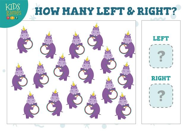 Wie viele linke und rechte cartoon-flusspferde zählen spielillustrationen