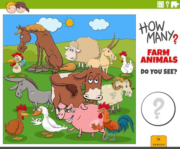 Wie viele nutztiere pädagogische cartoon-aufgabe für kinder