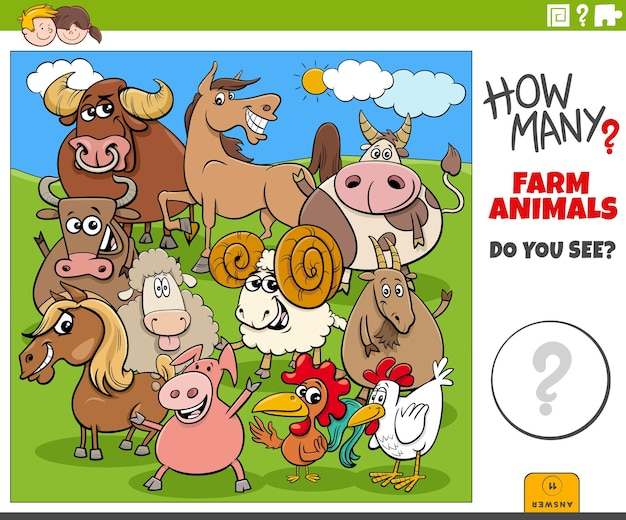Wie viele nutztiere pädagogisches cartoon-spiel für kinder