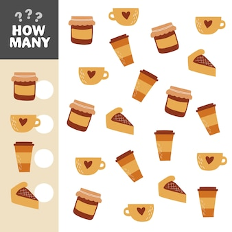 Wie viele objekte aufgabe. mathe-lernspiel für kinder. zählspiel