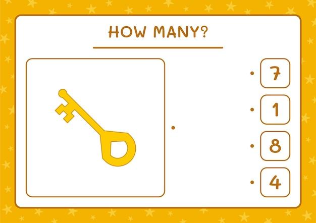 Wie viele schlüssel, spiel für kinder. vektorillustration, druckbares arbeitsblatt