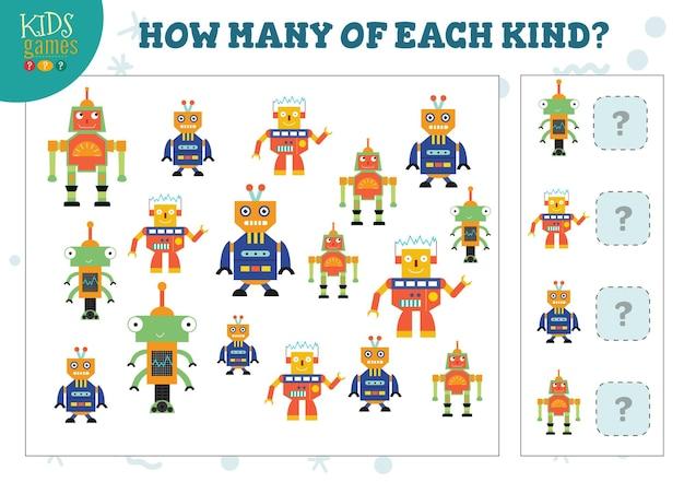 Wie viele von jeder art cartoon roboter zählspiel. bildungsquiz
