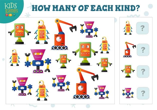 Wie viele von jeder art cartoon-roboter-zählspiel für kinder-vektor-illustration. bildungsquiz für vorschulkinder mit mathematiktest